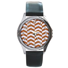 Chevron2 White Marble & Rusted Metal Round Metal Watch by trendistuff