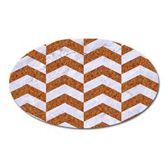 Chevron2 White Marble & Rusted Metal Oval Magnet by trendistuff