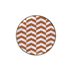 Chevron2 White Marble & Rusted Metal Hat Clip Ball Marker (10 Pack) by trendistuff