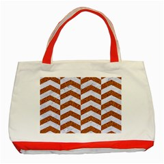 Chevron2 White Marble & Rusted Metal Classic Tote Bag (red) by trendistuff