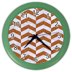 Chevron2 White Marble & Rusted Metal Color Wall Clocks by trendistuff