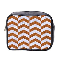 Chevron2 White Marble & Rusted Metal Mini Toiletries Bag 2 Side by trendistuff