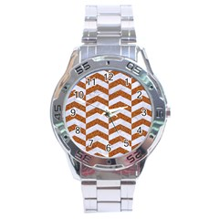 Chevron2 White Marble & Rusted Metal Stainless Steel Analogue Watch by trendistuff
