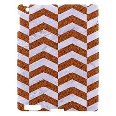 Chevron2 White Marble & Rusted Metal Apple Ipad 3/4 Hardshell Case by trendistuff