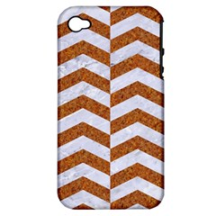 Chevron2 White Marble & Rusted Metal Apple Iphone 4/4s Hardshell Case (pc+silicone) by trendistuff