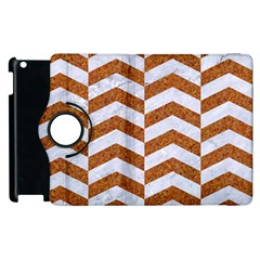 Chevron2 White Marble & Rusted Metal Apple Ipad 2 Flip 360 Case