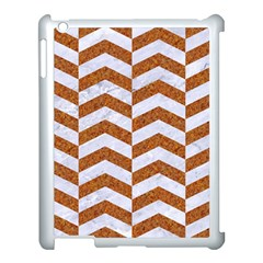 Chevron2 White Marble & Rusted Metal Apple Ipad 3/4 Case (white) by trendistuff