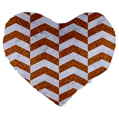Chevron2 White Marble & Rusted Metal Large 19  Premium Heart Shape Cushions by trendistuff