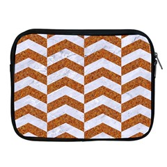 Chevron2 White Marble & Rusted Metal Apple Ipad 2/3/4 Zipper Cases by trendistuff