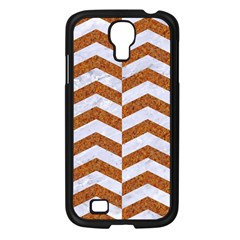Chevron2 White Marble & Rusted Metal Samsung Galaxy S4 I9500/ I9505 Case (black) by trendistuff