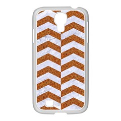 Chevron2 White Marble & Rusted Metal Samsung Galaxy S4 I9500/ I9505 Case (white) by trendistuff