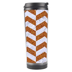 Chevron2 White Marble & Rusted Metal Travel Tumbler by trendistuff