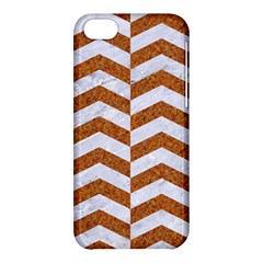 Chevron2 White Marble & Rusted Metal Apple Iphone 5c Hardshell Case by trendistuff