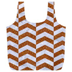 Chevron2 White Marble & Rusted Metal Full Print Recycle Bags (l)  by trendistuff
