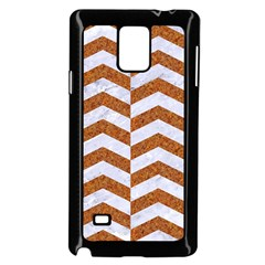 Chevron2 White Marble & Rusted Metal Samsung Galaxy Note 4 Case (black) by trendistuff