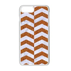 Chevron2 White Marble & Rusted Metal Apple Iphone 7 Plus Seamless Case (white) by trendistuff