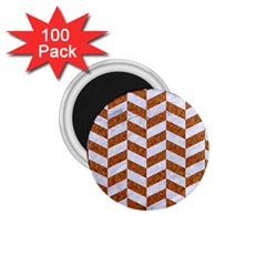Chevron1 White Marble & Rusted Metal 1 75  Magnets (100 Pack)  by trendistuff