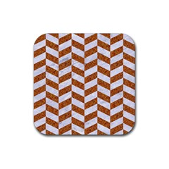 Chevron1 White Marble & Rusted Metal Rubber Square Coaster (4 Pack)  by trendistuff