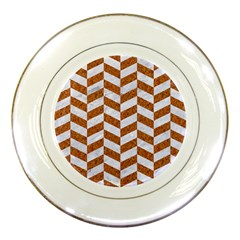 Chevron1 White Marble & Rusted Metal Porcelain Plates by trendistuff