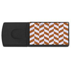 Chevron1 White Marble & Rusted Metal Rectangular Usb Flash Drive by trendistuff