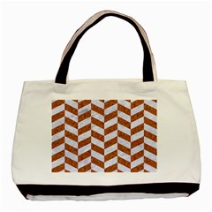 Chevron1 White Marble & Rusted Metal Basic Tote Bag by trendistuff