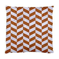 Chevron1 White Marble & Rusted Metal Standard Cushion Case (one Side) by trendistuff