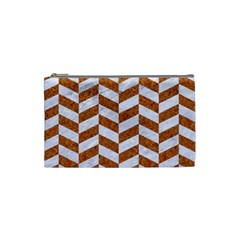 Chevron1 White Marble & Rusted Metal Cosmetic Bag (small)  by trendistuff