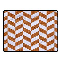Chevron1 White Marble & Rusted Metal Fleece Blanket (small) by trendistuff