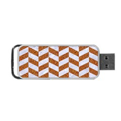 Chevron1 White Marble & Rusted Metal Portable Usb Flash (one Side) by trendistuff