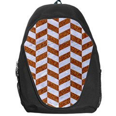 Chevron1 White Marble & Rusted Metal Backpack Bag by trendistuff