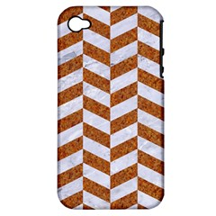 Chevron1 White Marble & Rusted Metal Apple Iphone 4/4s Hardshell Case (pc+silicone) by trendistuff
