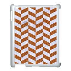 Chevron1 White Marble & Rusted Metal Apple Ipad 3/4 Case (white) by trendistuff