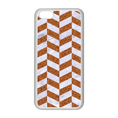 Chevron1 White Marble & Rusted Metal Apple Iphone 5c Seamless Case (white) by trendistuff