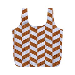 Chevron1 White Marble & Rusted Metal Full Print Recycle Bags (m)  by trendistuff