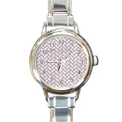 Brick2 White Marble & Rusted Metal (r) Round Italian Charm Watch by trendistuff