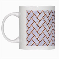 Brick2 White Marble & Rusted Metal (r) White Mugs by trendistuff