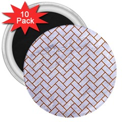 Brick2 White Marble & Rusted Metal (r) 3  Magnets (10 Pack)  by trendistuff