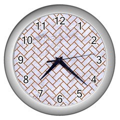 Brick2 White Marble & Rusted Metal (r) Wall Clocks (silver)  by trendistuff