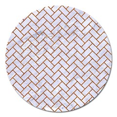 Brick2 White Marble & Rusted Metal (r) Magnet 5  (round) by trendistuff