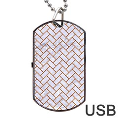 Brick2 White Marble & Rusted Metal (r) Dog Tag Usb Flash (one Side) by trendistuff