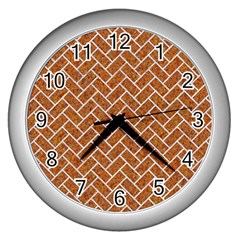 Brick2 White Marble & Rusted Metal Wall Clocks (silver)  by trendistuff