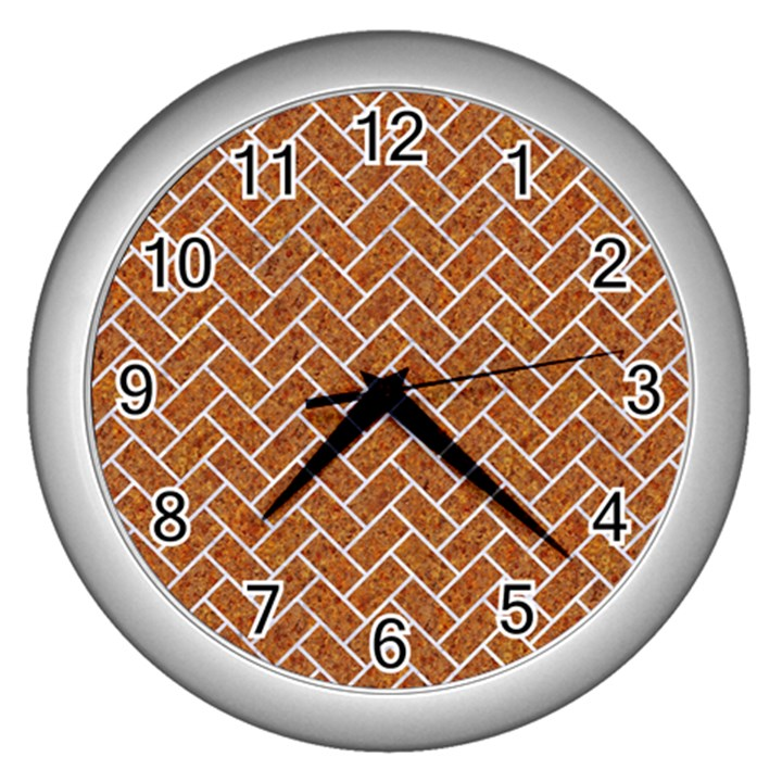 BRICK2 WHITE MARBLE & RUSTED METAL Wall Clocks (Silver)