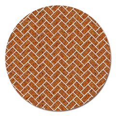 Brick2 White Marble & Rusted Metal Magnet 5  (round) by trendistuff