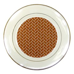 Brick2 White Marble & Rusted Metal Porcelain Plates by trendistuff