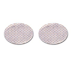 Brick1 White Marble & Rusted Metal (r) Cufflinks (oval) by trendistuff