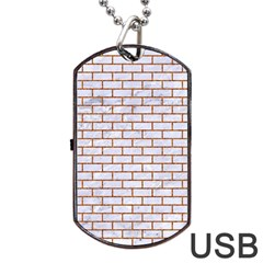 Brick1 White Marble & Rusted Metal (r) Dog Tag Usb Flash (one Side) by trendistuff