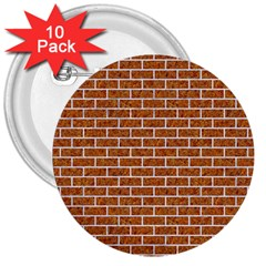 Brick1 White Marble & Rusted Metal 3  Buttons (10 Pack)  by trendistuff