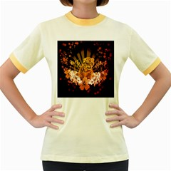 Cute Little Tiger With Flowers Women s Fitted Ringer T Shirts by FantasyWorld7