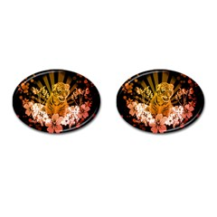 Cute Little Tiger With Flowers Cufflinks (oval) by FantasyWorld7