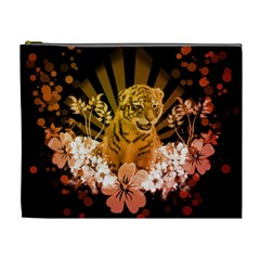 Cute Little Tiger With Flowers Cosmetic Bag (xl) by FantasyWorld7